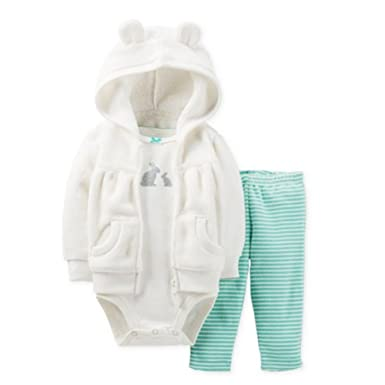 006bf3f3d Carters Infant Girls 3 Piece Set White Bunny Rabbit Hoodie Leggings & Shirt