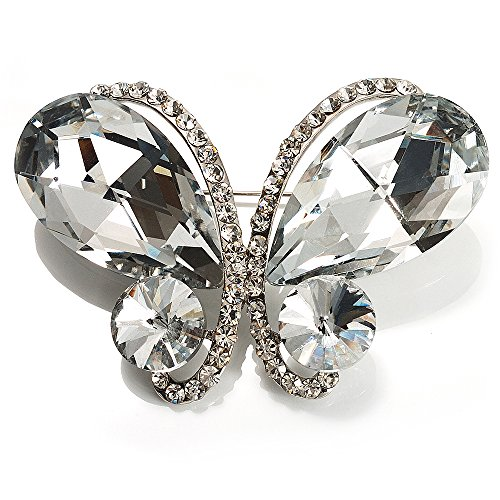 Avalaya Statement Oversized Clear Crystal Butterfly Brooch (Silver Tone) ()