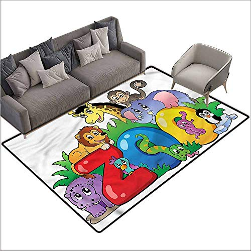 Office Chair Floor Mat Foot Pad Zoo,Zoo Sign Various Mascots 80