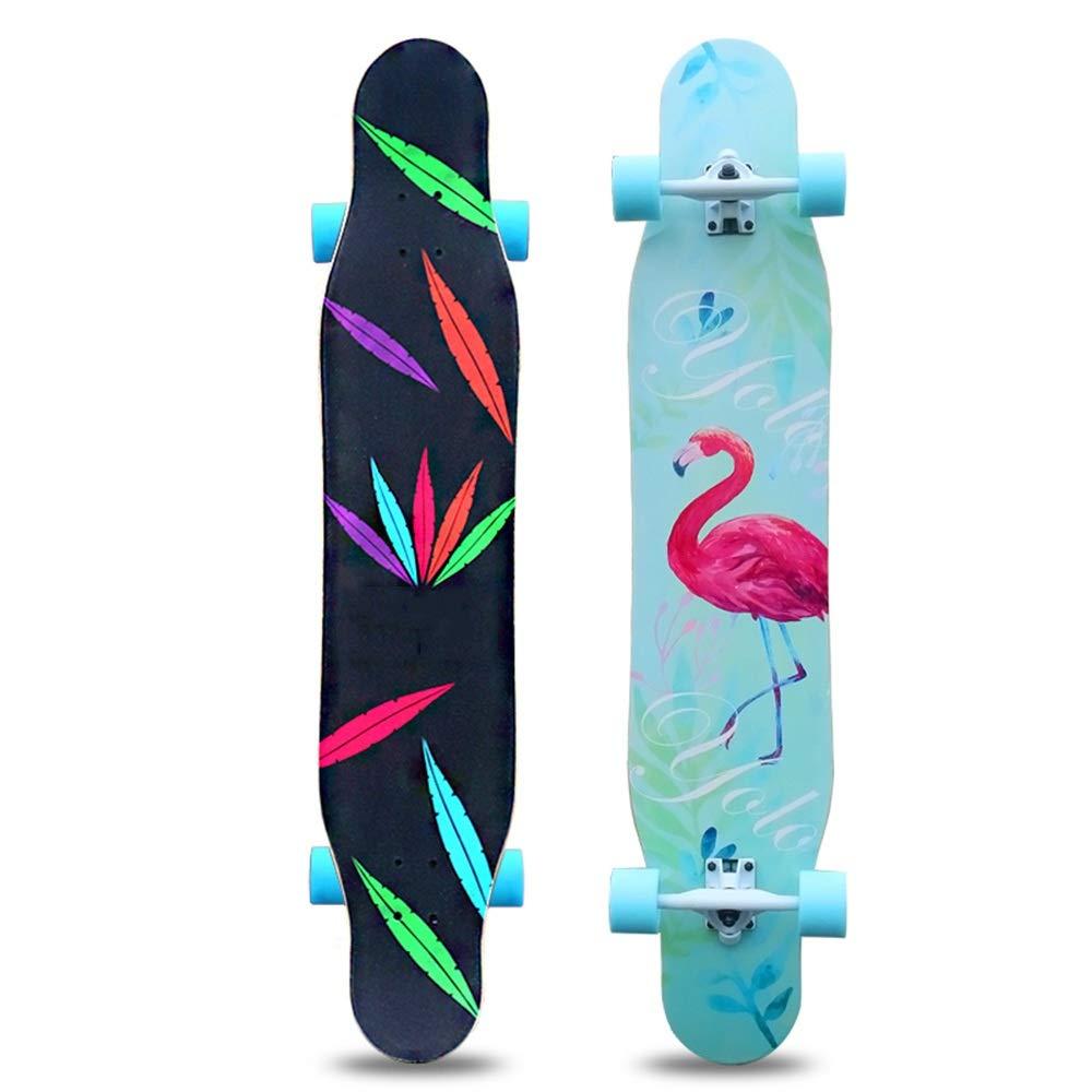Axdwfd スケートボード ロングボードスケートボード、初心者向け成人男女向けダブルキックブラシストリートダンスボード4輪スケートボード (Color : B) B
