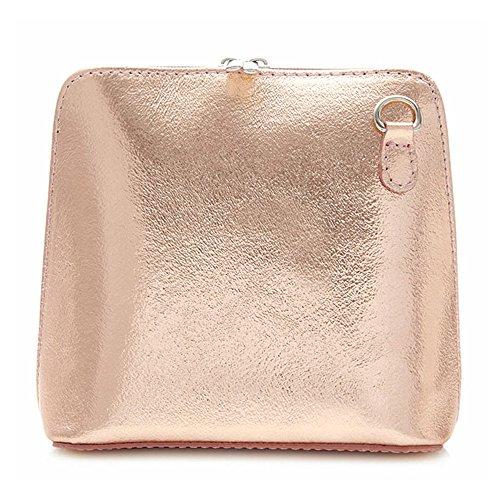 o rosa auténtico cuero cruzado uso Bolso para de hombro de Benagio oro italiano 78IpOw