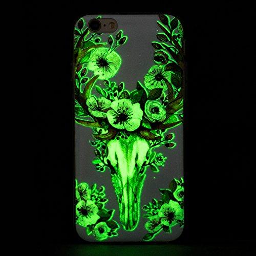 Funda iPhone 6 / 6S, iPhone 6S Luminoso Funda, SpiritSun Soft Carcasa Funda para iPhone 6 / 6S (4.7 pulgadas) Ultra Delgado y Ligero Flexible TPU Caja Diseño Fluorescente Funda Carcasa Cristal Gel Pro Venado Sika