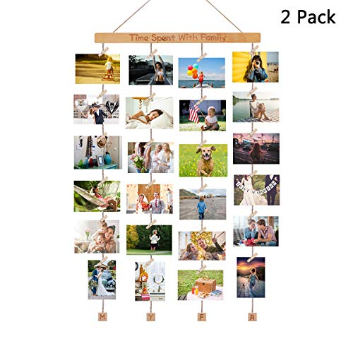 Homemaxs 2 Pack Hanging Photo Display Picture Frames Collage with 40 Clips 39