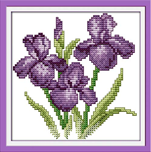 Cross Stitch Stamped Kits Pre-Printed Cross-Stitching Patterns for Beginner Kids Adults, DIY Embroidery Crafts Needlepoint Canvas Printed Kits -The Flower of Happiness