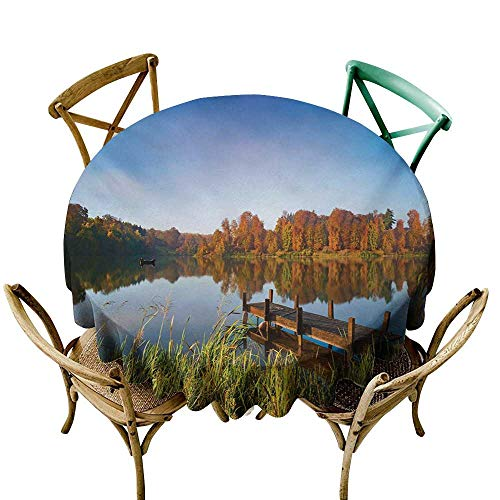 (Wendell Joshua Purple Tablecloth 36 inch Scenery,Lake View Fishing Countryside Themed with Trees and Long Reeds Work of Art Photo,Multicolor Printed Indoor Outdoor Camping Picnic Circle Table Cloth)