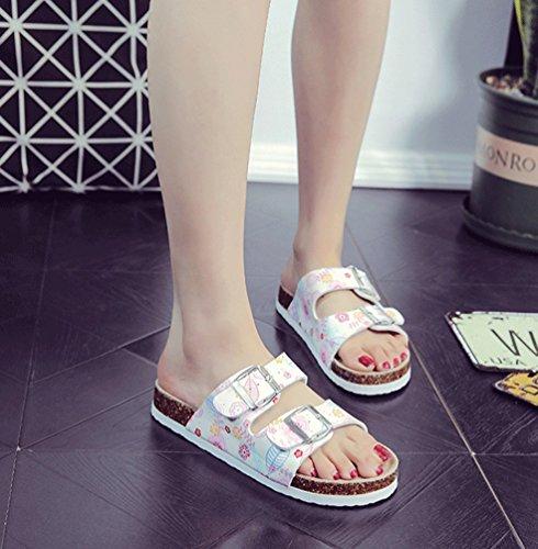 ZKOO Sandalias de Dedo Mujeres Multicolor Impresión Punta Abierta Vendaje Sandalias Verano Zapatillas de Verano Playa Zapatillas de Hebilla Casual Como la imagen5