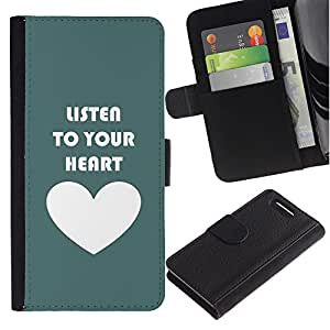 All Phone Most Case / Oferta Especial Cáscara Funda de cuero Monedero Cubierta de proteccion Caso / Wallet Case for Sony Xperia Z1 Compact D5503 // Green White Heart Listen Text Love Teal
