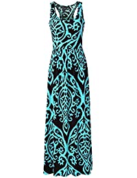 Zattcas Women Floral Tank Maxi Dress Pocket Sleeveless...