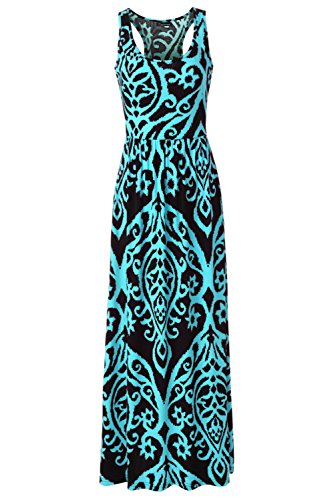 Aqua Floral Dress (Zattcas Women Floral Tank Maxi Dress Pocket Sleeveless Casual Summer Long Dress (Small, Black Aqua))