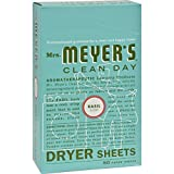 Mrs. Meyer s Dryer Sheets - Basil - Case of 12 - 80 Sheets