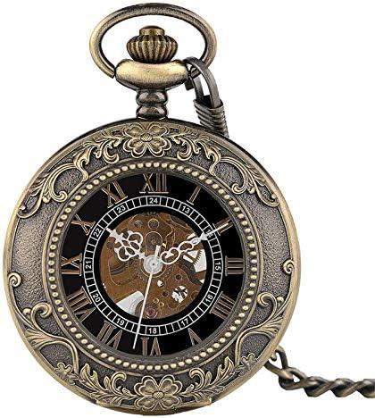 YXZQ懐中時計、スチームパンクペンダント男性女性手巻き機械式ファッションローマ数字スケルトン時計FOBチェーン
