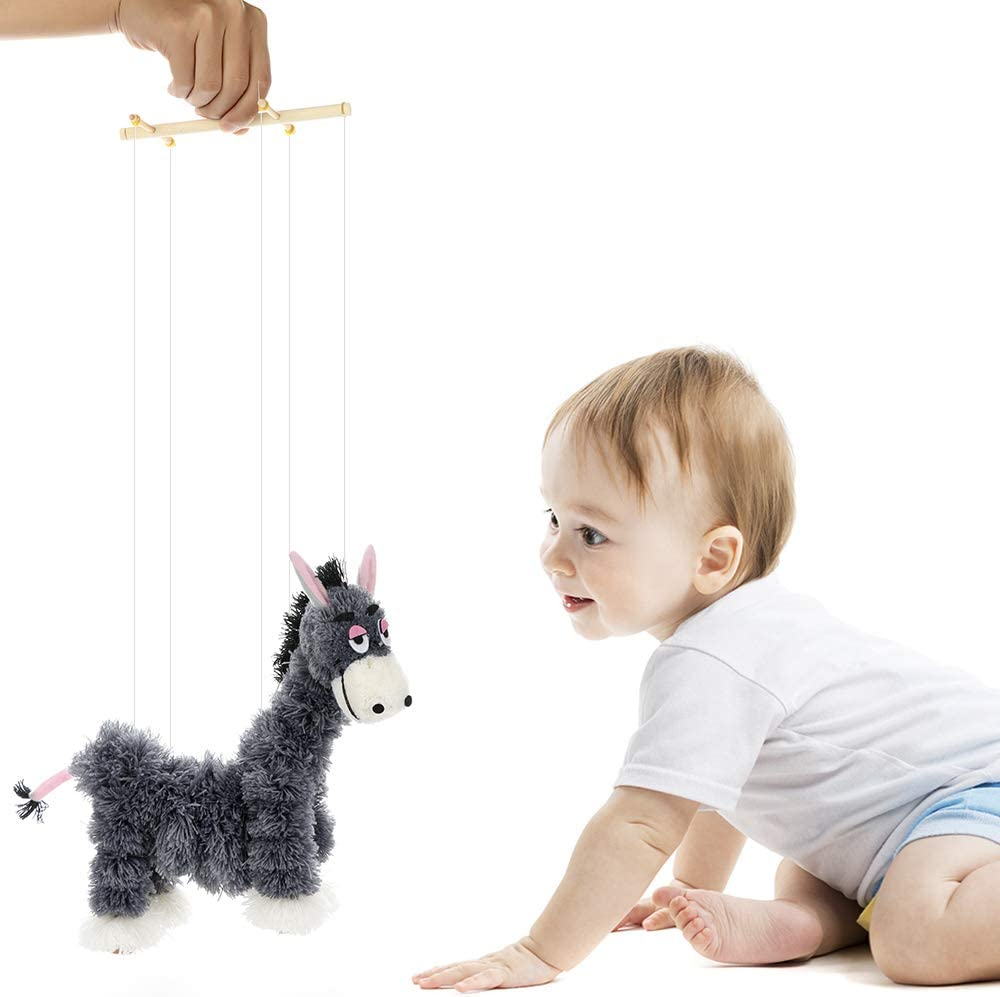Firlar Small Donkey Marionette Toy Handmade Crazy Donkey Marionette Puppets Doll Parent-Child Interactive Educational Toys for Children Kids