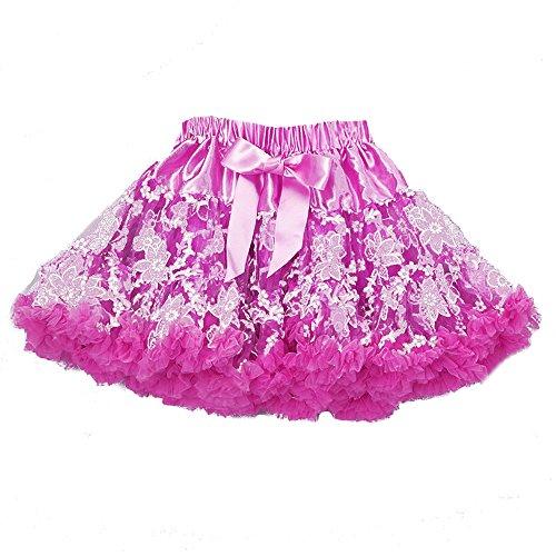 Ballet Dancer Fancy Dress Costume (Lace Pettiskirt Child Girl's fancy Ballet Tutu Fluffy Soft Petti Skirt Hot Pink (dark pink))