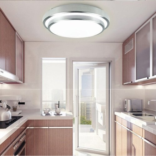 Kitchen Lighting (LightInTheBox Modern Round Flush Mount Led Ceiling Light 18W Pure White Ceiling Lighting Fixture for Bedroom,Kitchen Voltage=110-120V, Light Source=White)