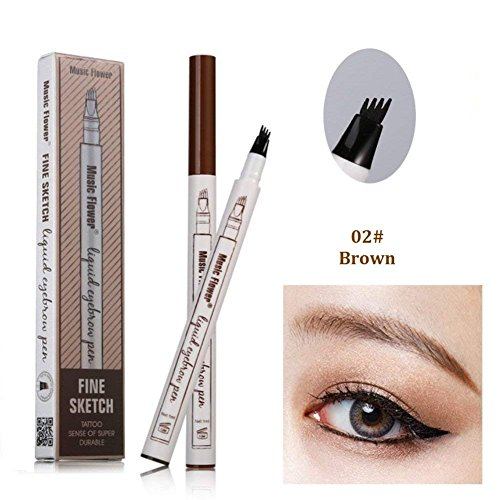 Tattoo Eyebrow Pen with Four Tips Longlasting Waterproof Brow Gel and Tint Dye Cream for Eyes Makeup2#Brown