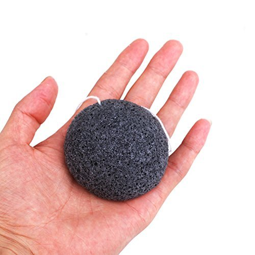Facial Sponge (3 Pack), Exfoliating Konjac Sponge with Activated Bamboo Charcoal for Oily and Acne Prone Skin, Deep Pore- Cleansing Facial Sponge for Girls, Women and Men