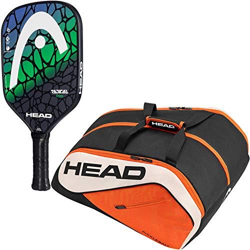 HEAD Radical Pro Composite Blue/Green Pickleball Paddle Starter Kit or Set Bundled with an Orange/Black Tour Team Supercombi Pickleball ()