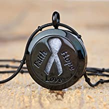 """Living BeAtitudes Cancer Awareness Aromatherapy Essential Oil Diffuser Necklace Locket Pendant Jewelry Gift Set with 20"""" & 24"""" Chains and Multi-Colored Oil Pads (Black)"""
