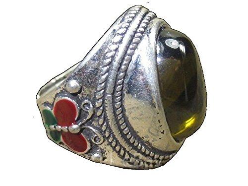 (Magic Blessed Green Naga Eye Stone Real Silver Ring Powerful Thai Buddha Amulets)