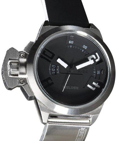 Welder K24 3001 - Reloj analógico de caballero de cuarzo con correa de goma negra -