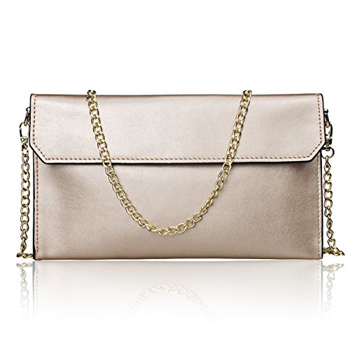 S-ZONE Women's Genuine Leather Envelope Clutches Handbag Shoulder Evening Bag (Light Gold) by S-ZONE