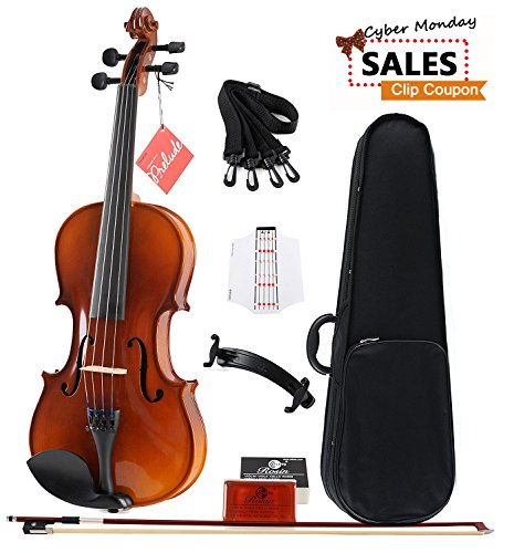 [CYBER MONDAY SALE] Aileen Solidwood Ebony Violin Outfit with Case, Rosin, Strings, Shoulder Rest, Fingerboard Sticker (4/4) by Aileen