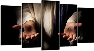 Kreative Arts - Jesus Hands Resurrected Canvas Prints Wall Art 5 Pieces Poster Picture Giclee Artwork Stretched Gallery Canvas Wrap Giclee Print for Living Room Decor (Medium Size 40x24inch)