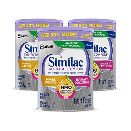 Similac Pro-Total Comfort Infant Formula, Non-GMO, Easy-to-Digest, Gentle Formula, with 2'-FL HMO, for Immune Support, Baby Formula, Powder, 36 oz, 3 Count