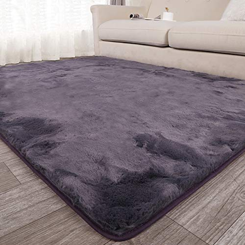 Seavish Shag Area Rug 3x5 Ultra Soft Faux Angora Rabbit Fur Small Accent Rug Luxury Fluffy Bedside Throw Mats Floor Covering for Nursery Living Room Bedroom with Non Skid Backing Grey Mauve, 3'W x 5'L