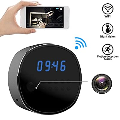 Wifi Hidden Camera Spy mini Cameras Clock HD 1080P Security Cam IR Night Vision Motion Detector Loop Recording for Home Surveillance by RUNJIUXING