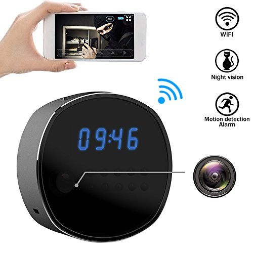 Wifi Hidden Camera Spy mini Cameras Clock HD 1080P Security Cam IR Night Vision Motion Detector Loop Recording for Home Surveillance