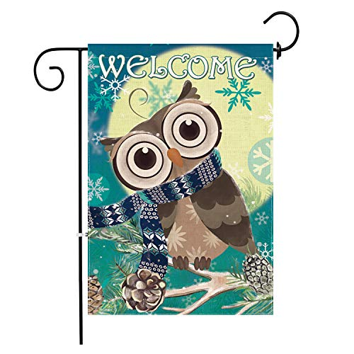 Hexagram Winter Owl Flag,Burlap Christmas Winter Garden Flags,Outdoor Turning Head Owl Decorative Welcome Sign,Double Sided Seasonal Garden Flags 12x18 Prime (Welcome Owl)