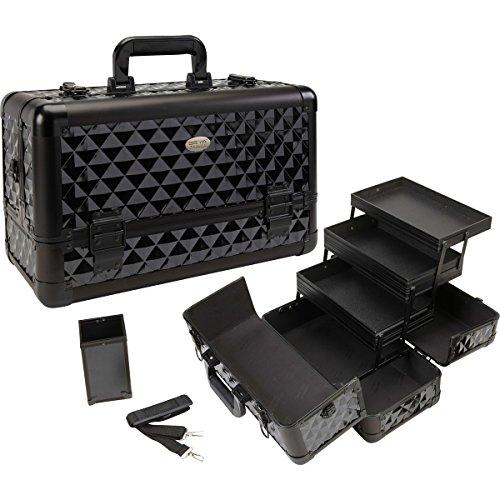 Seya Beauty Pro Aluminum Makeup Train Case w/ Brush Holder - Black Diamond