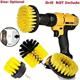 PAPE, 3Pcs/Kit Tile Grout Power Scrubber Cleaning Drill Brush Tub Cleaner Combo Yellow