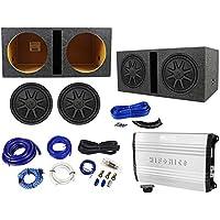 2 Kicker 44CVX124 Comp VX CVX 12 1500w Subwoofers+Hifonics Amp+Vented Box+Wires