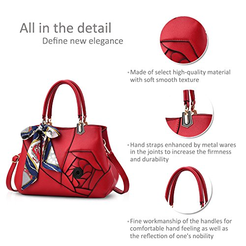 Handle Flowers for Handbags Wine Nicole Shoulder Crossbody Ladies Khaki PU Red Bag Leather Tote amp;Doris Women Bag Satchel Top WEFnFpIq