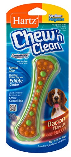 HARTZ Chew 'n Clean Dental Duo Bacon Flavored Dog Chew Toy - Medium Duo Dog Toy