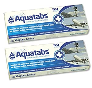 Outletdelocio. Pack de 100 Pastillas potabilizadoras para el Agua. Aquatabs.