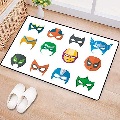 Superhero,Doormat,Hero Mask Female Male Costume Power Justice People Fashion Icons Kids Display,Bath Mat 3D Digital Printing Mat,Multicolor -