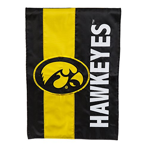 Team Sports America University of Iowa Outdoor Safe Double-Sided Embroidered Logo Applique Garden Flag, 12.5 x 18 inches -