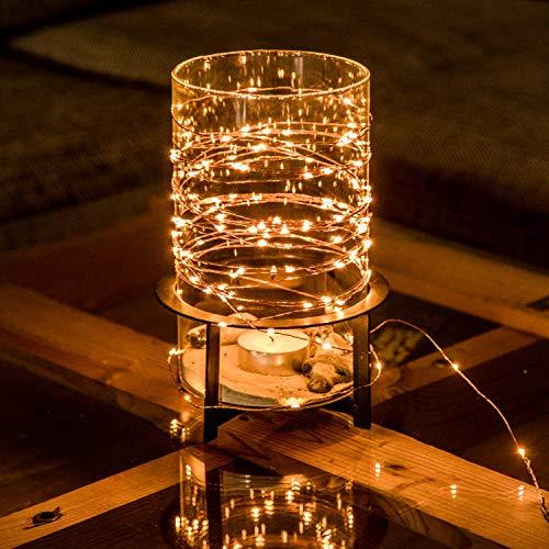 CozyHome Lichtsnoer van koperdraad, 100 leds, voor buiten, 12 meter totale lengte, voor buiten, op zonne-energie, 100…