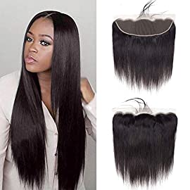 Gabrielle 14 Inch Brazilian Straight Hair 13×4 Lace Frontal Ear to Ear Free Part for Women Human Hair Wigs 100% Unprocessed Virgin Brazilian Human Hair Front Closure Top Extensions Natural Color