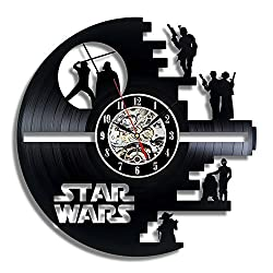 Star Wars Death Star Designed Wall Clock - Decorate your home with Modern Large Darth Vader and Luke Skywalker Art - Best gift for friend, man and boy - Win a prize for feedback
