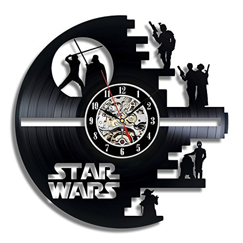 (Vinyl Evolution Star Wars Death Star Designed Wall Clock - Decorate Your Home with Modern Large Darth Vader and Luke Skywalker Art - Best Gift for Friend, Man and boy - Win a Prize for Feedback)