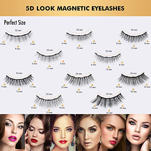 Updated 3D 6D Magnetic Eyelashes and Eyeliner Set 2 Tubes of Magnetic Eyeliner  10 Pairs Magnetic