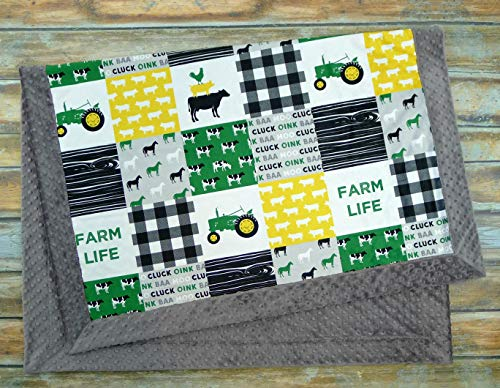 Green Tractor Minky Blanket - Farm Blanket - Tractor Blanket - Faux Quilt - Designer Minky - Minky Baby blanket (Deere John Bedding Baby)