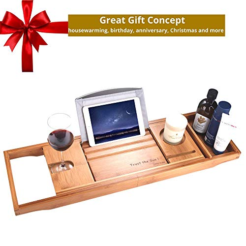 SUNFICON Bamboo Bathtub Caddy Tray with Extending Sides Mug/Wineglass/Smartphone Holder, Metal Frame Book/Pad/Tablet Holder with Waterproof Cloth Detachable Sliding Tray Non-Slip Rubber Base by SUNFICON (Image #1)