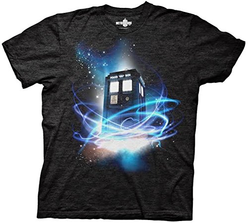 Doctor Who Tardis in Space Men's T-shirt (X-Large, Tri-blend Black) (10th Doctor Dress)