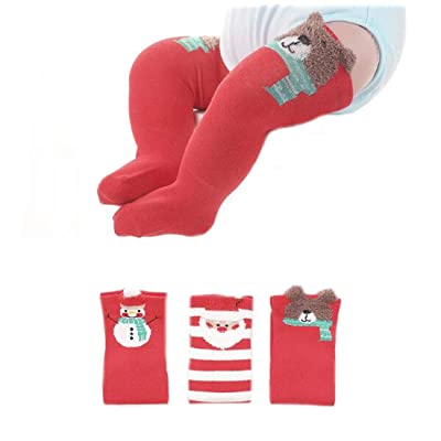 Ewanda store 3 Pack Cartoon Christmas Baby Stockings Over Knee High Cotton Socks for 1-3 Years Old Baby Toddler Infant Kids Boys Girls, Style1, M : Baby