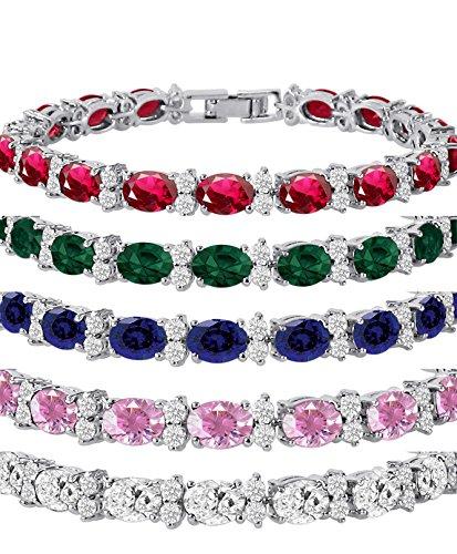 Kezef Cubic Zirconia Tennis Bracelet CZ Round Cut 2.5mm White 7x5mm Oval Gemstone Silver Plated Brass 7 inch